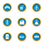 Chemical Production Icons Set. Flat Set Of 9 Chemical Production Vector Icons For Web Isolated On Wh poster