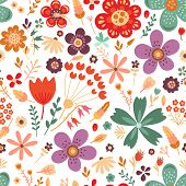 Amazing Floral Vector Seamless Pattern Of Bright Colorful Flowers In Cute Vintage Style.beautiful Co poster