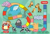 Board Game With Zoo, Illustration Of A Board Game With Zoo Background.  Kids Zoo Animals Board Game, poster