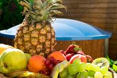 Mix Of Different Exotic Fresh Colorful Fruits On Dark Wooden Table And Green Trees. Relax Conceprion poster