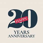 20 Years Anniversary Vector Logo, Icon. Template Design Element, Symbol With Number For 20th Anniver poster