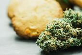 Cookies With Cannabis And Buds Of Marijuana On The Table. A Can Of Cannabis Buds Concept Of Cooking  poster
