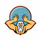 Mascot Icon Illustration Of Head Of Atlas, A Titan In Greek God Mythology Holding Up The World Or Gl poster