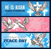 White Dove Bird Sketch Banner Set For Wedding Ceremony, Easter Religion Holiday And World Peace Day  poster