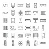 Electric Heater Device Icons Set. Outline Illustration Of 36 Electric Heater Device Vector Icons For poster