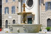 Decorative Fountain At Piazza Farneze In Rome Italy poster