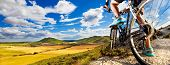 Extreme Sports.mountain Bicycle And Man.life Style Outdoor Extreme Sport.mountain Bike.sport And Hea poster