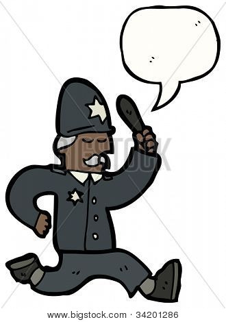 cartoon running british policeman