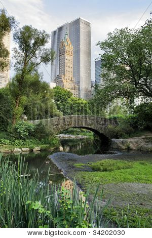 Gapstow bridge in Central Park. Central Park is a public park at the center of Manhattan, New York City, USA.