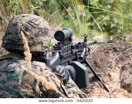 Soldier Shooting His Machine Gun