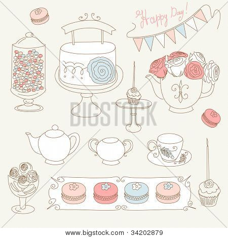 Stylish Birthday party set with bunting, cup cakes, roses, birthday cake, tea, candles and macaroons