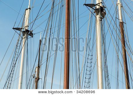 Rigging Of A Big Sailing Ship Against A Blue Sky