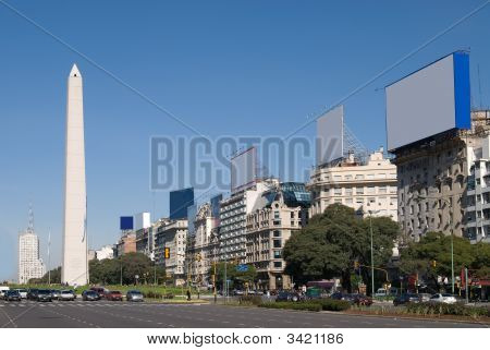 9 de Julio Avenue and The Obelisk a major touristic destination in Buenos Aires Argentina