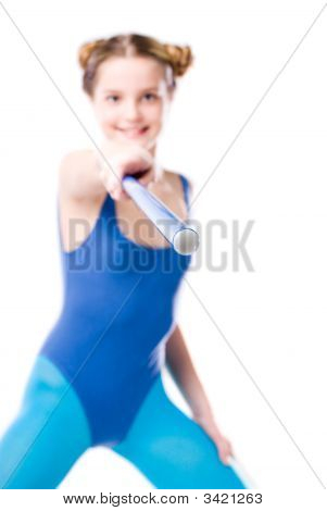 Girl And Gymnastic Stick