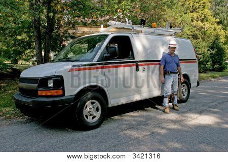 Utility Van & Worker