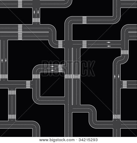 Seamless Editable Vector Texture - Urban Roads