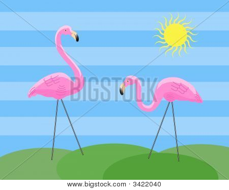 Two Silly Lawn Flamingos