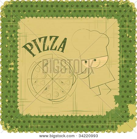 Vintage Pizza Menu Card Design With Chef