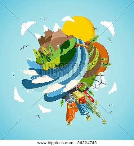 Ir a energía verde tierra ilustración