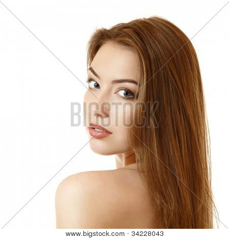 beautiful bewitching young woman face closeup. Isolated on white background
