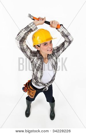 Woman brandishing a hammer