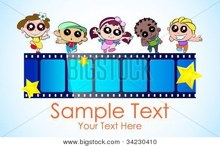 illustration of kids with film stripe enjoying film festival