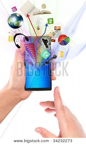 Business hand with mobile phone  (Elements of this image furnished by NASA)