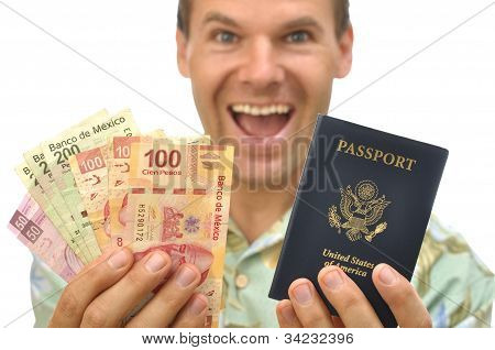 Tourist With Pesos And Passport