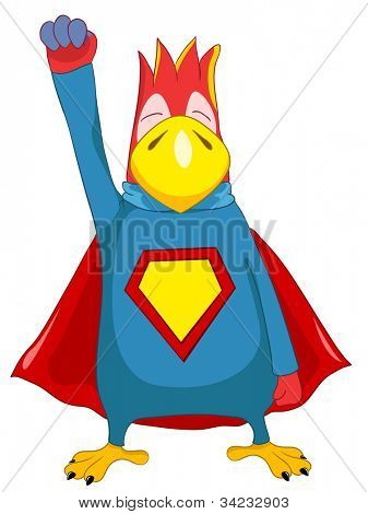 Cartoon Character Funny Superparrot Isolated on White Background. Vector EPS 10.