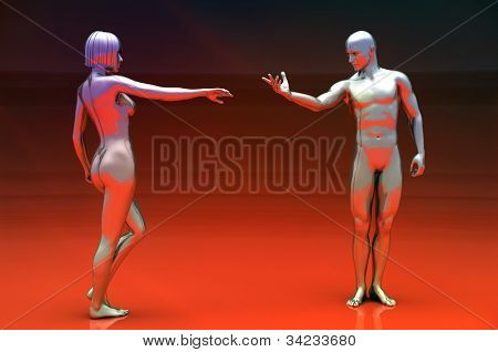 The sexual woman with cyborg