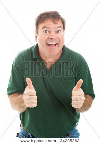 Casually dressed mature man making a silly face and giving two thumbs up.  Isolated on white.
