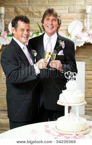Gay couple giving champagne toast at their wedding reception.