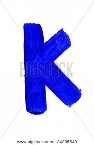Letter k on white background