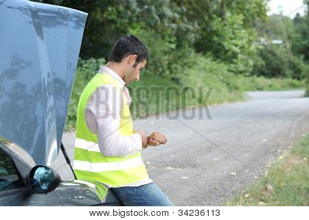 Man with a car breakdown