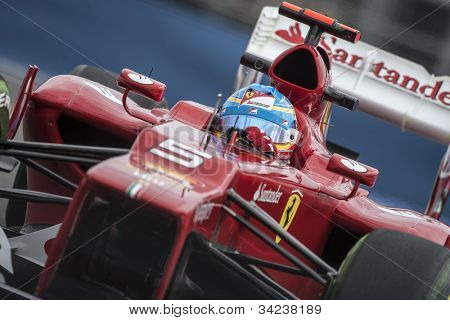 VALENCIA, SPAIN - JUNE 22: Fernando Alonso in the Formula 1 Grand Prix of Europe, in Valencia Street Circuit, Spain on June 22, 2012