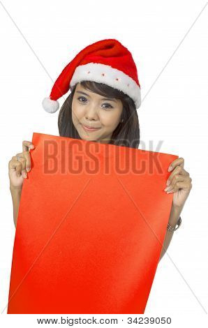 Santa Lady Hold Banner