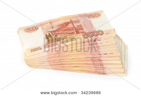 Russian Roubles Isolated On A White