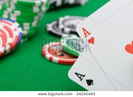Gaming Chips And Cards On The Green Cloth