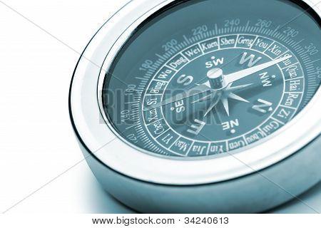 Compass Closeup Blue Toned