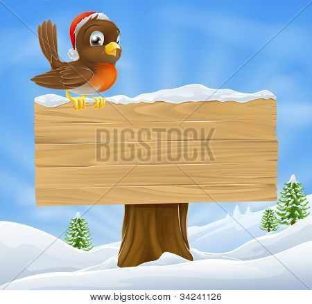 Christmas Robin Sign Background