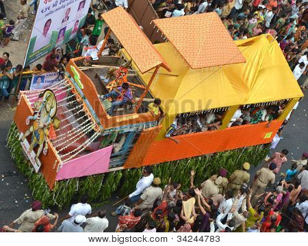 Decorated Truck With Lord Krishna Statue On Top