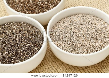 chia seeds in white ceramic bowls - three varieties including white chia
