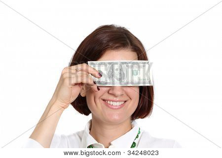mujer joven con un billete de un dólar en la mano