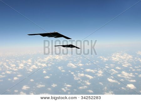 Strategic Bombers In Flight