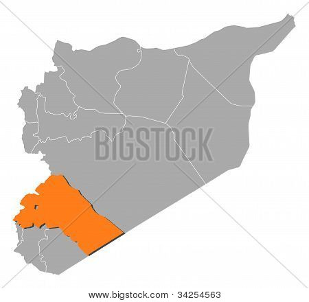Map Of Syria, Rif Dimashq Highlighted