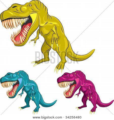 Vector Set Of Colorful Dinosaur Tyrannosaurs