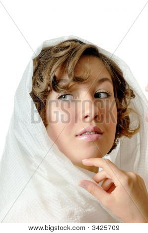 Portrait Of The Beautiful Girl With White Kerchief