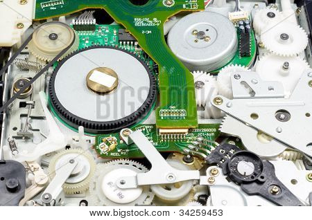 Internal Cog Wheels And Belts Of Vhs Video Recorder