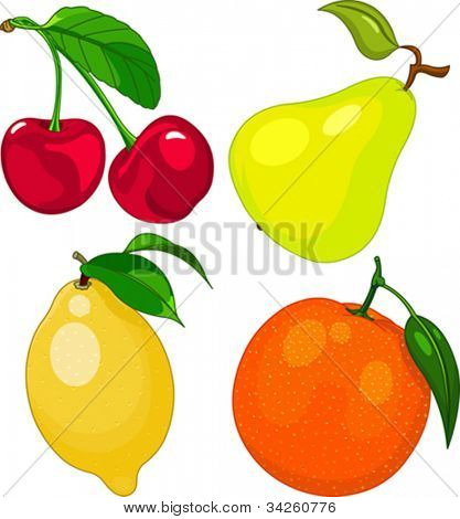 Cartoon fruit set, include cherry, pear, lemon and orange