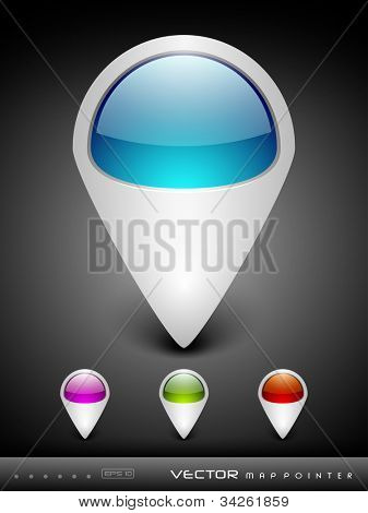 Abstract 3D glossy map pointers in  blue, green, pink and red color with grey color combination, isolated on grey with text space.EPS 10. can be use as icons, element, banner or background.